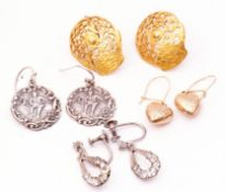 Four pairs of various earrings, pair of embossed white metal examples, heart, paste and grille