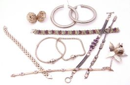 Mixed Lot: mainly white metal jewellery, two paste set bracelets, a pair of large earrings, a floral