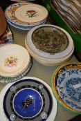MIXED CERAMIC ITEMS INCLUDING A ROYAL WORCESTER BOTANICAL PLATE BY WILLIAMSON AND AN 18TH CENTURY