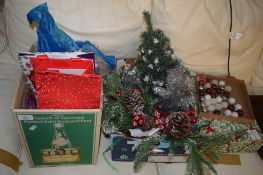 THREE BOXES OF CHRISTMAS DECORATIONS