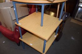 TWO SQUARE AND ONE DEMI-LUNE MODERN TABLES, ALL APPROX 61CM WIDE