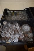 TWO BOXES OF CUT GLASS WARES, BRANDY GLASSES, WINE GLASSES ETC AND A CUT GLASS DECANTER
