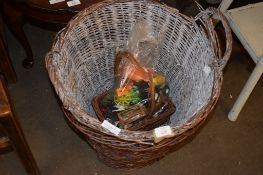 WICKER BASKETS AND VARIOUS TOYS