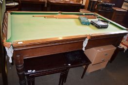 MAHOGANY SNOOKER TABLE RETAILED BY A W GAMAGE, LONDON, 193CM LONG