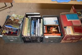 THREE BOXES OF BOOKS, VARIOUS TITLES INCLUDING THE DOOMSDAY BOOK, ANCIENT EGYPT AND THE LAW OF
