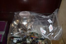 BAG CONTAINING SILVER PALTED BON-BON DISH AND TWO SILVER NAPKIN RINGS