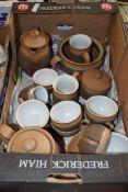 DENBY WARE PART TEA SET COMPRISING TEA POT, WATER JUG, MILK JUG, SUGAR BOWL, CUPS AND SAUCERS, ALL