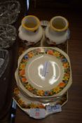 1930S STYLE POTTERY SANDWICH SET WITH PLATES AND SANDWICH PLATE TOGETHER WITH A PAIR OF POTTERY