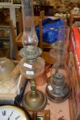 OIL LAMP WITH GLASS RESERVOIR ON BRASS STEM, FURTHER OIL LAMP AND GLASS SHADES