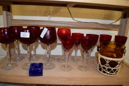 RED COLOURED GLASS WARES