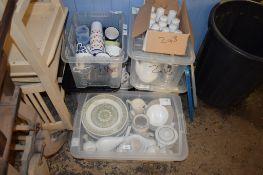 SIX BOXES OF TEA WARES, DINNER WARES AND CERAMICS ETC