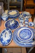 BLUE AND WHITE WARES, MAINLY LATE 19TH CENTURY INCLUDING COPELAND SPODE DISH, LATE 19TH CENTURY