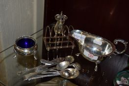 BIRMINGHAM SILVER SAUCE BOAT AND SMALL QUANTITY OF SILVER SPOONS, TOAST RACK WITH LONDON HALLMARK,
