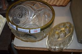 CUT GLASS BOWL WITH METAL MOUNT AND GLASS JELLY DISH