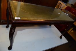 REPRODUCTION MAHOGANY GLASS TOPPED COFFEE TABLE, 93CM WIDE
