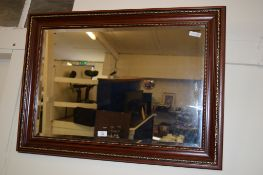 LARGE MODERN BEVELLED MIRROR IN WOOD AND GILT EFFECT FRAME
