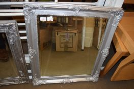 MODERN WALL MIRROR WITH SILVER PAINTED FRAME, 64CM WIDE