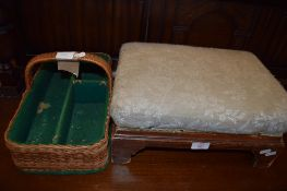 19TH CENTURY FOOT STOOL AND BASKET WORK CUTLERY TRAY, 40 AND 38CM LONG RESPECTIVELY