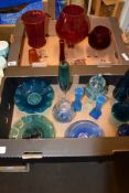 TWO BOXES OF COLOURED GLASS WARES INCLUDING LARGE RED COLOURED VASES AND BRANDY GLASSES