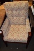 UPHOLSTERED FIRE SIDE CHAIR WIDTH APPROX 64CM