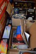 TWO BOXES OF STAR WARS MEMORABILIA INCLUDING A RADIO CONTROLLED R2D2 AND A GLOWING LIGHT BEAM
