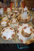 QUANTITY OF ROYAL ALBERT OLD COUNTRY ROSES CHINA INCLUDING COFFEE POT, TEA POT, COFFEE CUPS AND