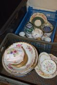 TWO BOXES OF CHINA INCLUDING SOME MINTON HADDON HALL PIN DISHES AND MALING DISHES