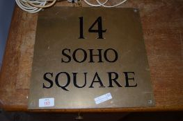 BRASS NAME PLAQUE WITH BLACK LETTERING FOR 14 SOHO SQUARE