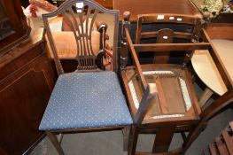 HEPPLEWHITE STYLE DINING CHAIR AND FURTHER LATER OAK DINING CHAIRS (3)