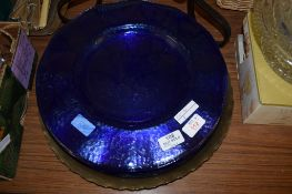GROUP OF LARGE BLUE GLASS DINING PLATES