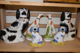 TWO STAFFORDSHIRE DOGS AND REPRODUCTION STAFFORDSHIRE MODELS