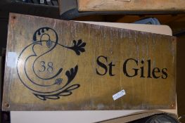 BRASS NAME PLAQUE WITH BLACK SCROLL LETTERING FOR ST GILES