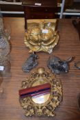 MINIATURE WOODEN JEWELLERY BOX AND OTHER ITEMS INCLUDING A GILT FRAMED MIRROR AND FRITH SCULPTURE OF