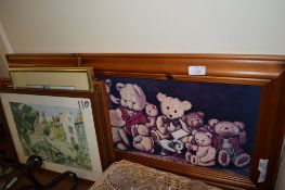 PRINT OF TEDDIES IN WOODEN FRAME AND OTHER PRINTS