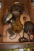 BOX OF METAL WARES AND LARGE PLATED SOUP LADLE