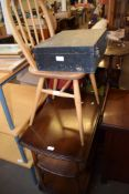 VINTAGE INSTRUMENT BOX, A STICK BACK KITCHEN CHAIR AND A TEA TROLLEY