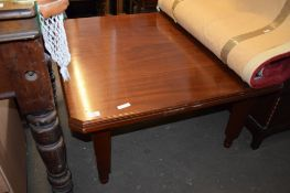 MAHOGANY SQUARE COFFEE TABLE WITH CANTED CORNERS, 91CM WIDE