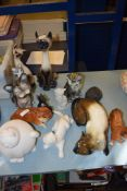 GROUP OF CERAMIC CATS AND A MELBAWARE MODEL OF A DOG