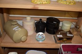 PLATED MONEY BOX WITH KEY AND OTHER ITEMS INCLUDING A GLASS JAR WITH SILVER TOP