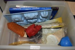 PLASTIC BOX CONTAINING GLASS WARES AND NEEDLEWORK ITEMS