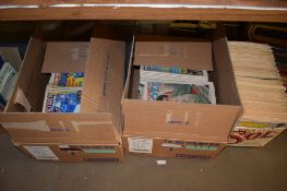 FOUR BOXES OF BOOKS AND VARIOUS SHOOT COMICS