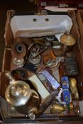 BOX CONTAINING VARIOUS PLATED WARES, COFFEE POT, TWO CHALICES AND OTHER PLATED ITEMS