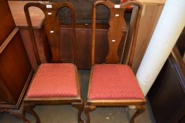 PAIR OF QUEEN ANNE STYLE DINING CHAIRS