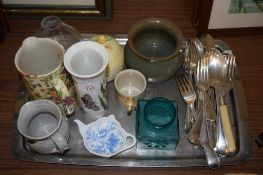 TRAY OF CHINA WARES AND FLAT WARES INCLUDING A CLARICE CLIFF BEEHIVE TYPE JAR AND COVER AND A