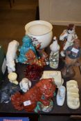 ORIENTAL CHINA ITEMS INCLUDING A TURQUOISE GLAZED BUDDHA, A DOG OF FO, POTTERY BUTTER DISH AND