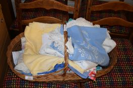 BASKET OF VARIOUS LINEN