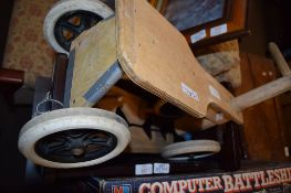 CHILD'S TRICYCLE AND WOODEN MAGAZINE RACK