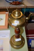 BRASS KETTLE AND BOWL WITH WOODEN HANDLE
