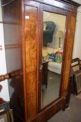 EARLY 20TH CENTURY MAHOGANY MIRROR DOOR WARDROBE, 108CM WIDE