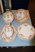 MIXED DINNER WARES MADE BY FURNIVAL COMPRISING PLATES, THREE TUREENS AND COVERS AND SERVING DISHES